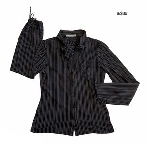 SYMMETRY striped black and tan button up blouse